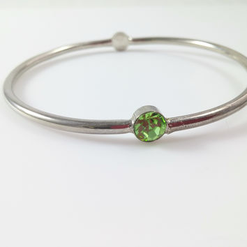 Vintage Bangle - Silver Tone w/ Two Rhinestone Accents Aurora Borealis & Green Peridot