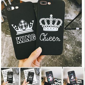 Cool Letter King Queen Couples Phone Case For iphone X Case For iphone 6 6S 7 8 Plus Retro Soft TPU Cover Cartoon Crown CasesAT_93_12