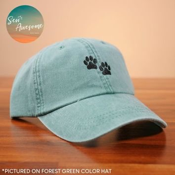 Dog Paws Dad Hat, Dog Mom Gift, Dog Baseball Cap, Cute Embroidered Dad Hats, Girlfriend Gift, Gift For Boyfriend