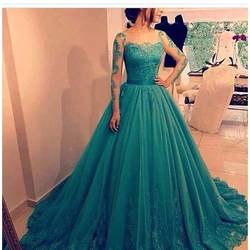 Customized Ball Gown Teal Blue Prom Dress 2017 Long Sleeves Lace Applique Elegant Saudi Arabia Formal Evening Party Gowns