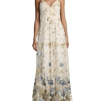 Elie Tahari Sleeveless Metallic Floral Tulle Gown, Cream/Navy/Multicolor