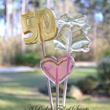 1 dz 50th GOLDEN WEDDING Anniversary Barley Sugar Hard Candy Lollipops Party Favors Hostess Gifts Golden Wedding Anniversary 50th Number 50