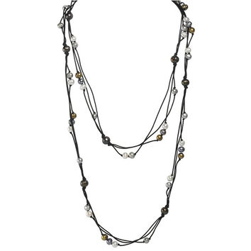 Black Waxed Cotton Cord Triple Strand Black Gold and White Freshwater Pearl Necklace - 60 Inches