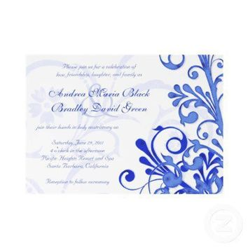 Royal Blue and White Floral Wedding Invitation from Zazzle.com
