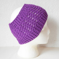 Extra Wide Crochet Earwarmer Headband in Deep Grape, Lace Stitch, ready to ship.