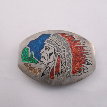 Native American Belt Buckle Indian Chief Headdress. free US shipping  - FL