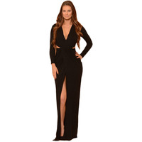 Black Long Sleeve V Neck Jersey Maxi Dress LAVELIQ
