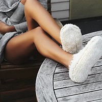 Lemons + Free People Womens Snowcaps Slipper Sock