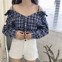 Buy IndiGirl Cold Shoulder Plaid Top | YesStyle