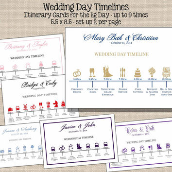 Wedding Itinerary Card Printable // Wedding Day Timeline