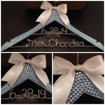 Bling Bridal Hanger / SOMETHING BLUE Wedding Hanger / Brides Hanger / Something Blue / Personalized Hanger / Mrs. Hanger / Bling Wedding