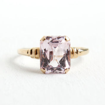 Vintage 10k Yellow Pink Spinel Stone Ring- 1940s Size 9 Art Deco Fancy Emerald Cut Fine Jewelry Hallmarked Esemco