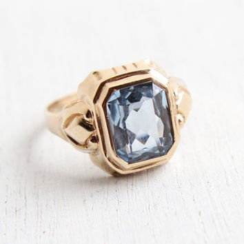 Vintage 10k Yellow Gold Blue Spinel Ring - Antique Size 7 1/2 Art Deco 1930s Hallmarked OB Ostby Barton Fine Jewelry