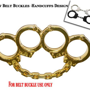 Closeout Handcuff design Gold Finished Belt Buckle