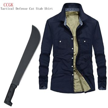 Tactical Anti-cut Anti-Stab Self-Defense Long-Sleeved Shirt Plus Velvet Warm Invisible Cut Resistant Clothing Covert Stab 3XL