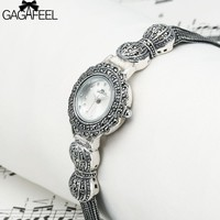 GAGAFEEL 925 Sterling Silver Women's Watch Clock Dress Wristwatch Genva Quartz Watches Hour for Ladies Female