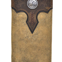 Ariat Embroidered Lacing Concho Med. Brown Rodeo Wallet