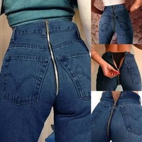High Waist Blue Denim Pencil Pants Elastic Casual Stretch Jeans Slim Bandage Jeans Long