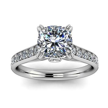 Cushion Cut Engagement Ring Diamond Setting Forever One Moissanite - New Era
