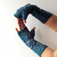 Felted Mittens fingerless gloves  -  turquoise blue teal