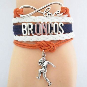 nice Infinity love Denver Broncos Football bracelet charm Denver Broncos football souvenir jewelry