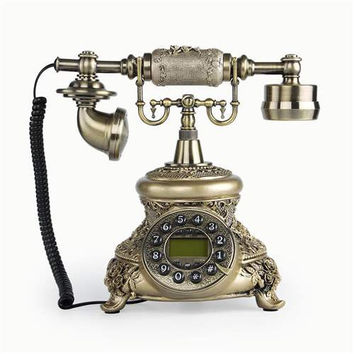 LNC Bronze LNC Retro Vintage Antique Style Push Button Dial Desk Telephone Phone Home Living Room Decor