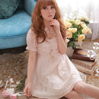 [Free Shipping to USA] Appliqué-Flower Embroidered Dress - JU2009