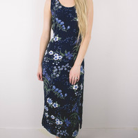 Vintage Floral Navy Tie Back Dress
