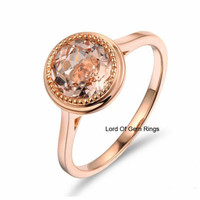 Morganite Diamond Engagement Promise Ring,Round Cut 7mm,14K Rose Gold,Bezel Set