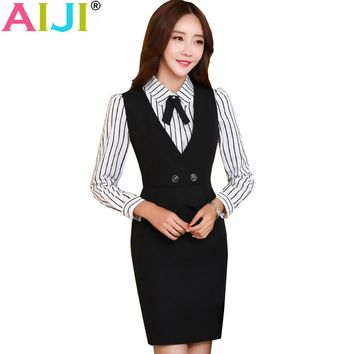 Autumn woman's OL striped bow elegant one-piece dresses women v-neck work wear slim office business formal plus size clothing