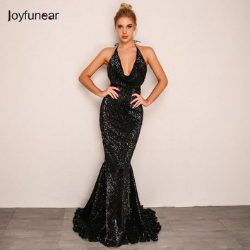 Joyfunear Mermaid Sequin Summer Maxi Dress Women Elegant 2018 Backless Nightclub Long Party Dress Bodycon Sexy Dresses Vestido