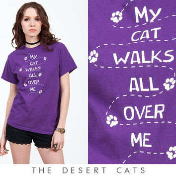 vintage 90s t-shirt vintage 1990s purple my cat walks all over me novelty t-shirt vintage 90s grunge cat shirt vintage cat lovers top