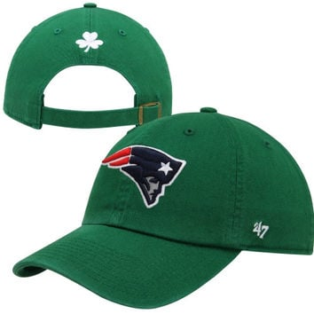 47 Brand New England Patriots Cleanup Adjustable Hat - Kelly Green