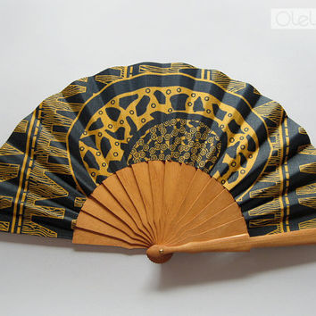 Tribal hand fan with sleeve Petrol & Gold by Olele