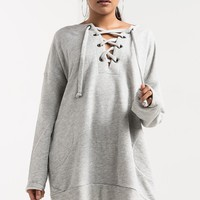 Lace Up V Neck Long Sleeve Two Pocket Cuffed Sweatshirt in Heather Grey