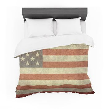 """Bruce Stanfield """"Flag of US Retro"""" Rustic Featherweight Duvet Cover"""