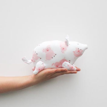 Stuffed toy animal pig softie plush toy white pink soft toy piggy stuffed piggy - gift idea for birthday get well and cheer up.