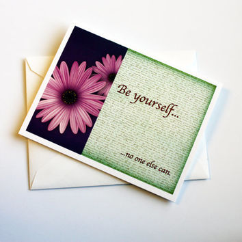 Vintage Green & Purple Be Yourself Encouragement Card with Daisy
