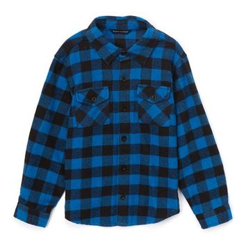 Sophie & Sam Teal & Navy Buffalo Check Button-Up - Toddler