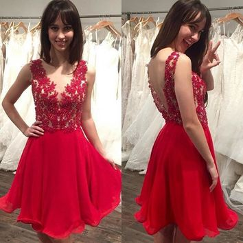 Sexy Red Beaded Lace Appliques Chiffon Prom Cocktail Party Dresses 2016 Short robe de cocktail Open Back V Neck cocktail dress