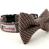 Brown, Black and Tan Houndstooth Dog Collar (Matching Bowtie Available)