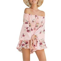 Starwee Summer Women Rompers Printing Fashion Sexy Strapless Jumpsuit Overall Beach Casual Vacation Pants Short Playsuit