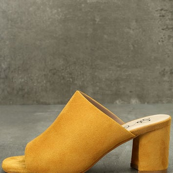Cecily Mustard Suede Peep-Toe Mules
