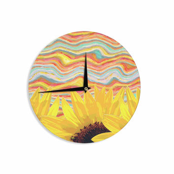 "Suzanne Carter ""Sunflower Dreaming "" Yelllow Teal Wall Clock"
