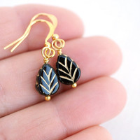Tiny Leaf Black Earrings Black Bead Earrings Black Glass Earrings Black Dangle Earrings  Black Teardrop Gold Earrings Black Drop Earrings