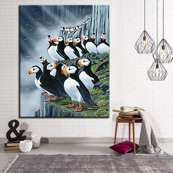 Horned Puffin Painting By Numbers DIY Digital Sea Parrot Oil Pictures On Canvas Home Decor Good Tidings Bird Coloring Wall Art
