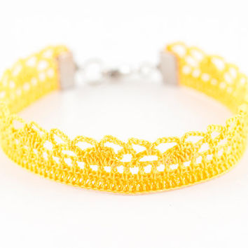 Yellow Victorian Bracelet - Crochet Lace - Bridesmaid Jewelry – For Her - Fiber Art Jewelry – Lightweight – Boho Chic – Gypsy