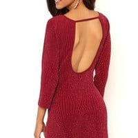 Metallic Knit Bodycon Dress with Open Back and Three Quarter Sleeves