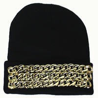 3 Chains Beanie (Black/Gold)
