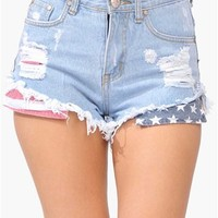 Hidden Flag Shorts - Blue